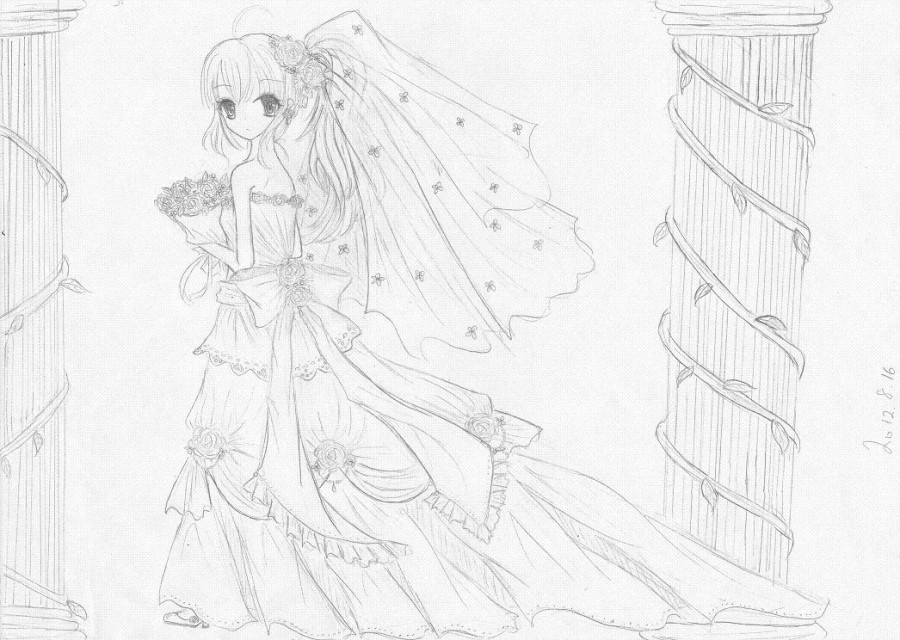铅笔婚纱图片简笔画